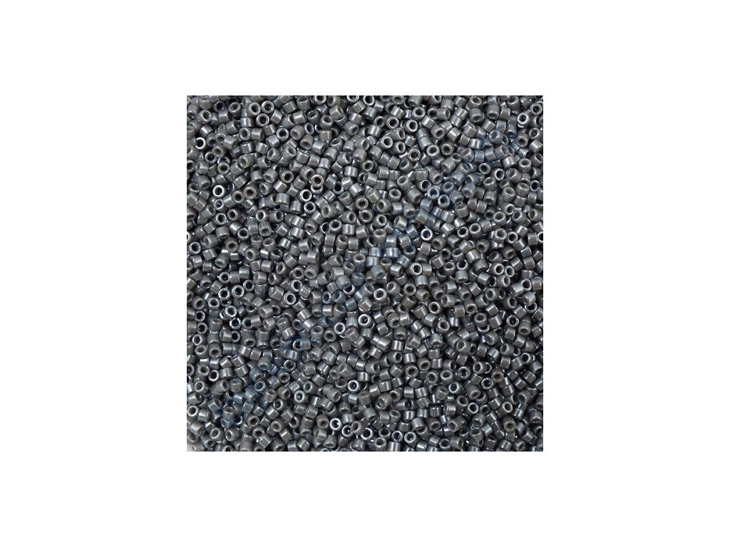 Miyuki Delica, Opaque Dark Grey Luster, vel.1,6 mm, průtah 0,8 mm