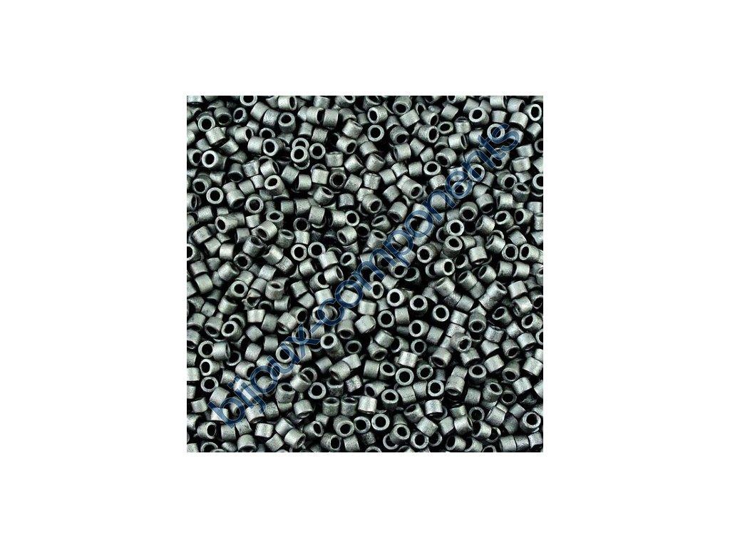 Miyuki Delica, Matte Metallic Charcoal Grey, vel.1,6 mm, průtah 0,8 mm