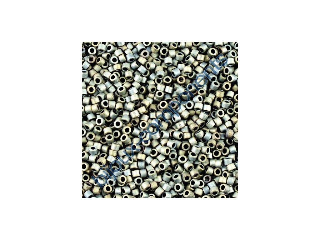 Miyuki Delica, Matte Metallic Silver Grey, vel.1,6 mm, průtah 0,8 mm