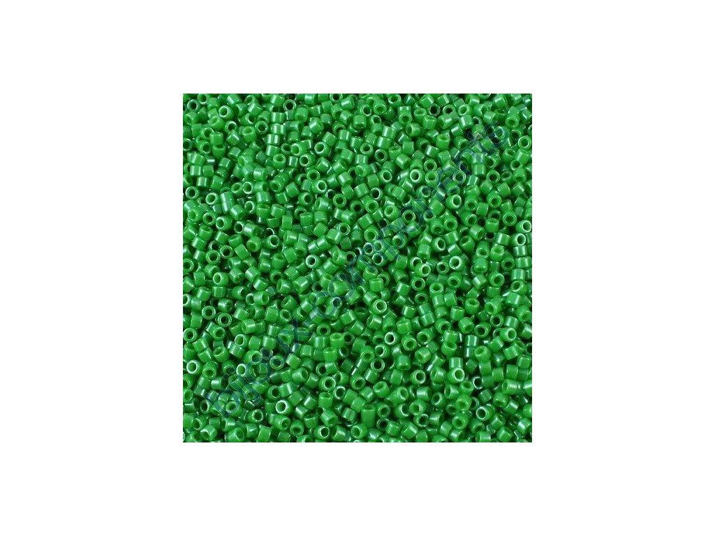 Miyuki Delica, Opaque Kelly Green Dyed, vel.1,6 mm, průtah 0,8 mm
