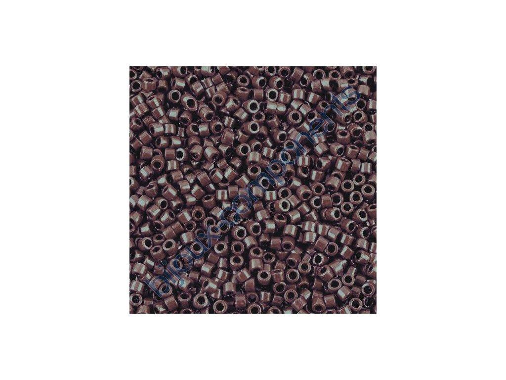 Miyuki Delica, Opaque Dark Brown, vel.1,6 mm, průtah 0,8 mm