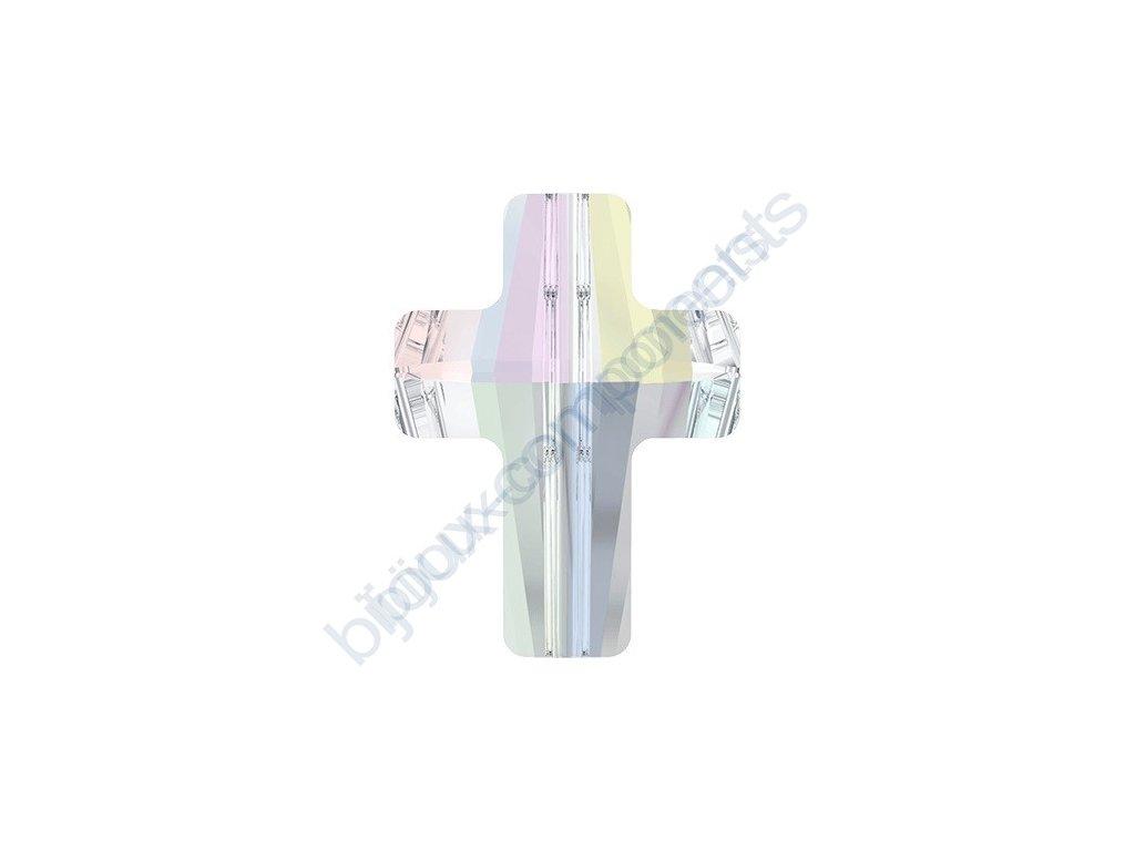SWAROVSKI CRYSTALS Cross Bead - korálek, crystal AB, 14mm