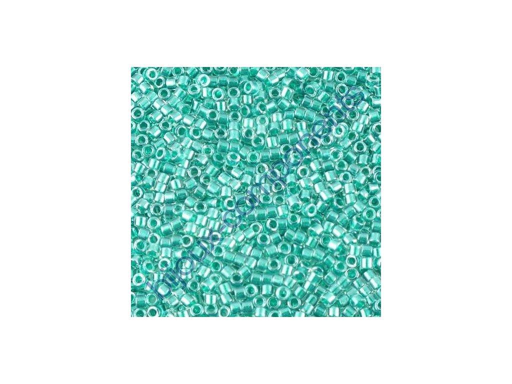 Miyuki Delica, Sparkling Teal Lined Crystal, vel.1,6 mm, průtah 0,8 mm
