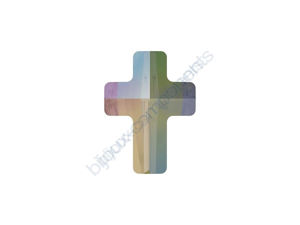 SWAROVSKI CRYSTALS Cross Bead - korálek, crystal paradise shine, 14mm