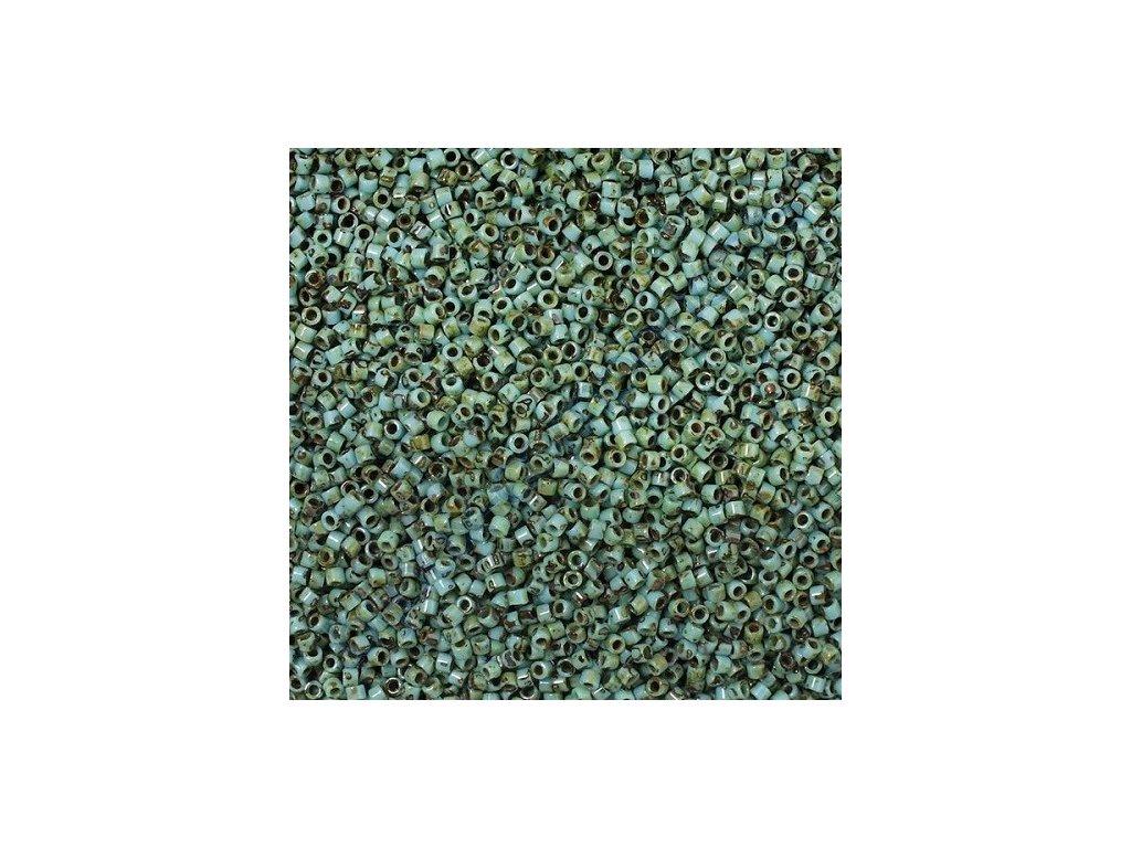 Miyuki Delica, Blue Turquoise Picasso, vel.1,6 mm, průtah 0,8 mm