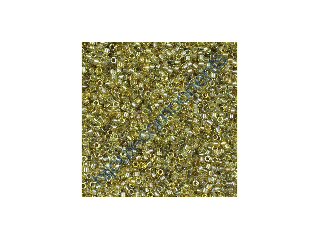 Miyuki Delica, Fancy Lined Olive, vel.1,6 mm, průtah 0,8 mm