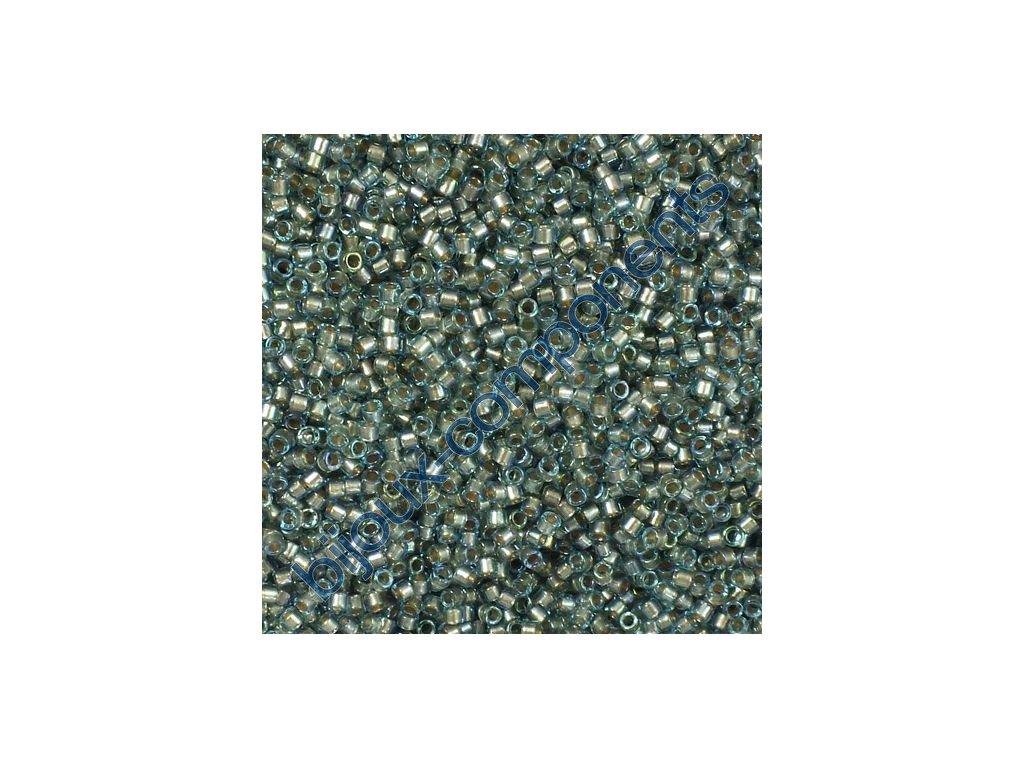 Miyuki Delica, Fancy Lined Blue Silver, vel.1,6 mm, průtah 0,8 mm