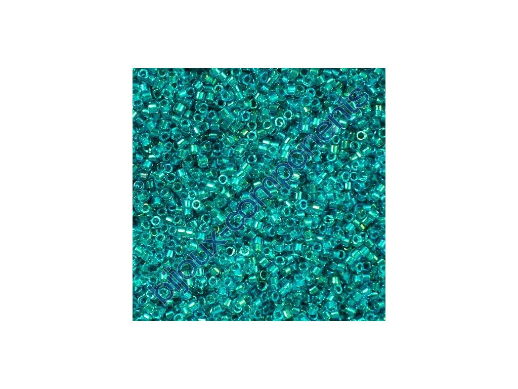 Miyuki Delica, Fancy Lined Teal Green, vel.1,6 mm, průtah 0,8 mm