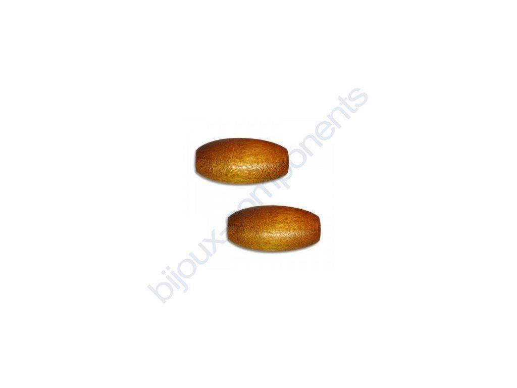 Dřevěné perle - ovál, cca 20x9mm