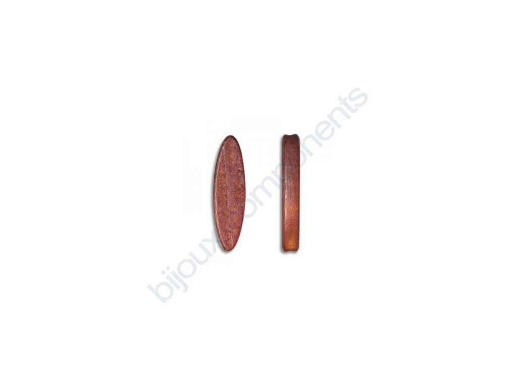 Dřevěné perle - plochý ovál, cca 45x12mm