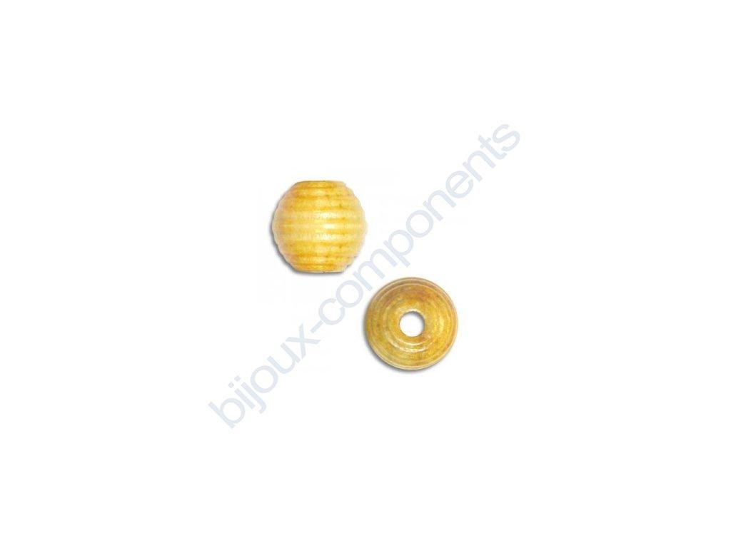 Dřevěné perle - žebrovaná kulička, cca 13mm