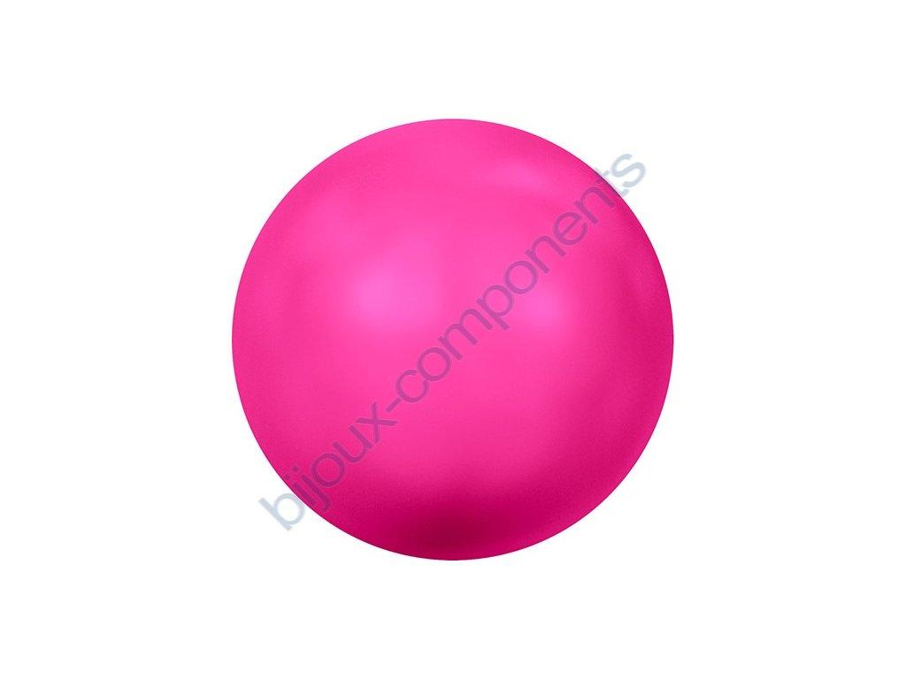 SWAROVSKI CRYSTALS voskované půldírové perle, neonově růžové, 6mm