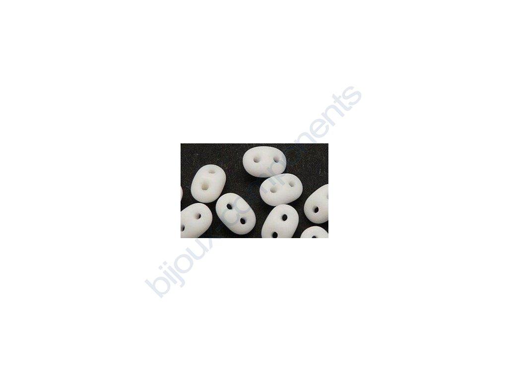 Matubo Superduo, matte opaque white, 2,5x5 mm, průtah 0,8 mm, 5 g