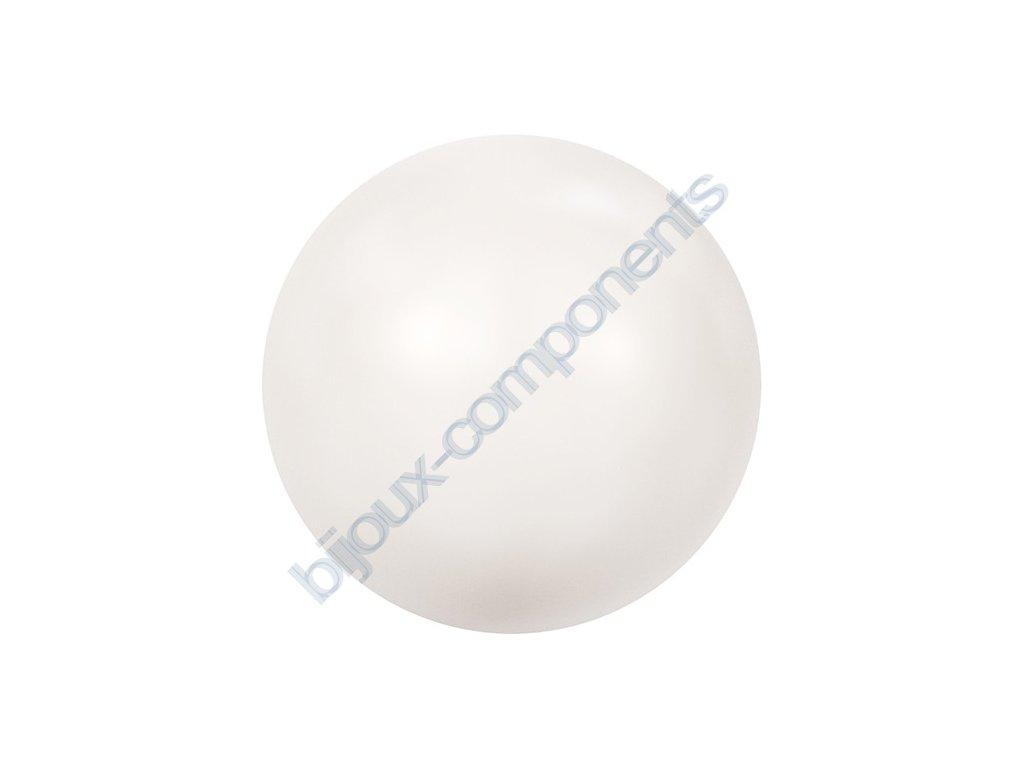 SWAROVSKI CRYSTALS voskované půldírové perle, bílé, 8mm