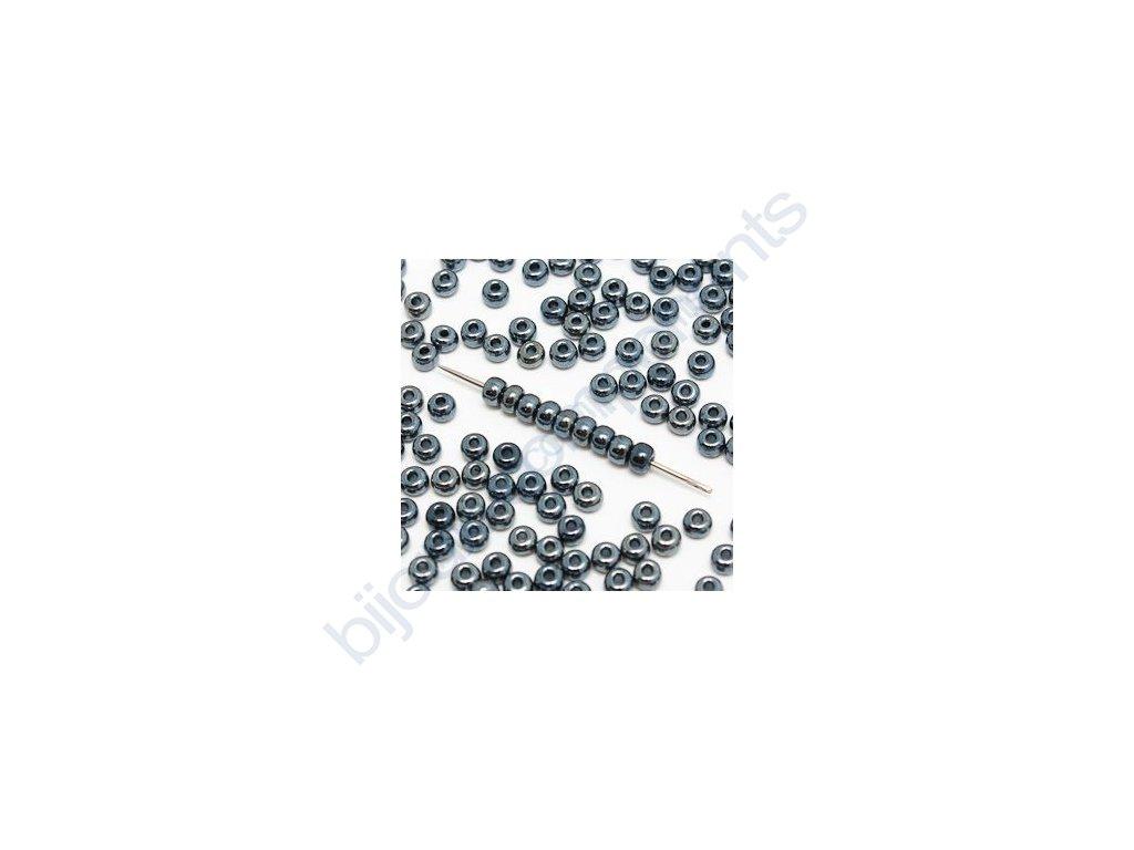 skleněné korálky - ramš, cca 2mm, hematit