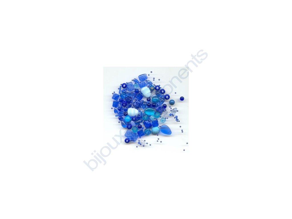 skleněné korálky - ramš, mix velikostí (mix modrých korálků)