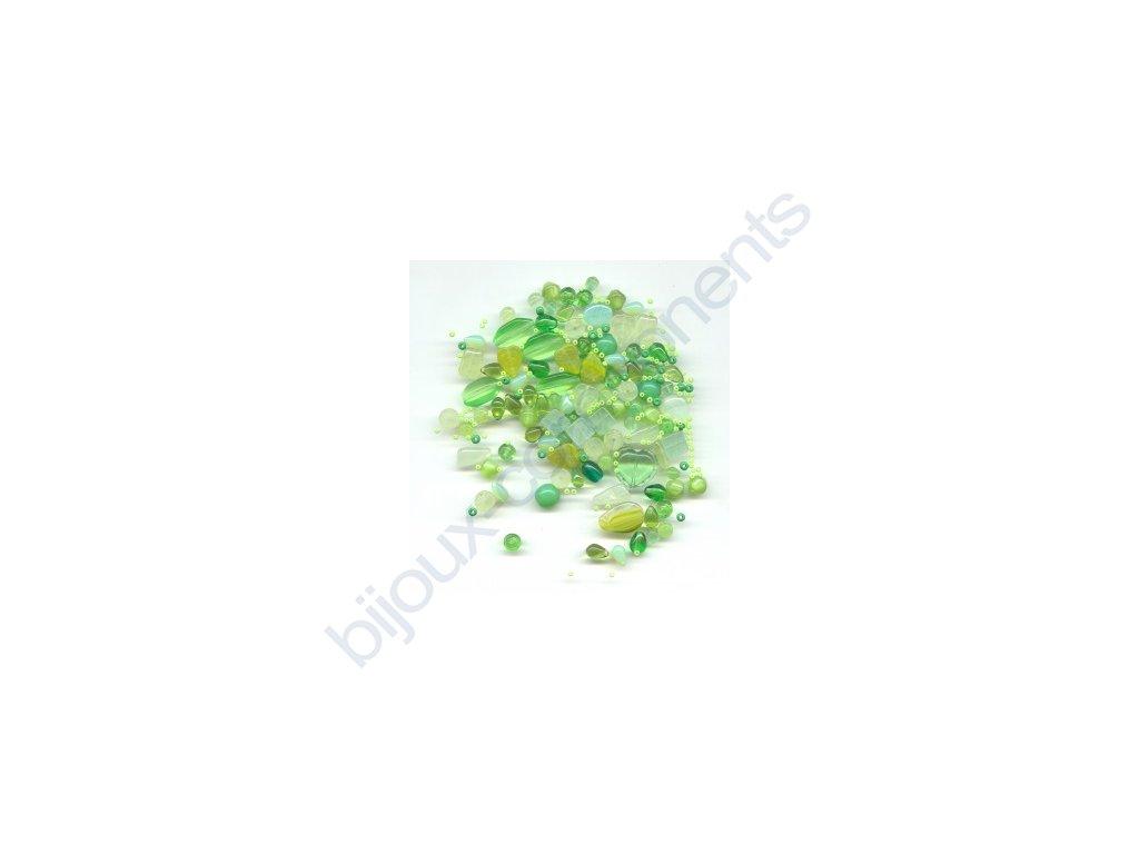 skleněné korálky - ramš, mix velikostí (mix zelených korálků)