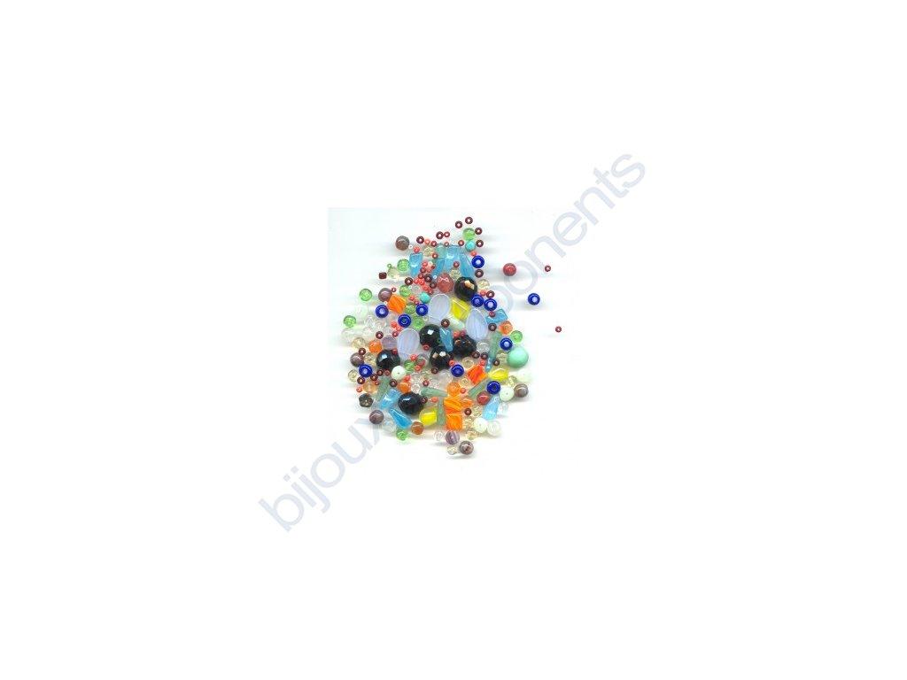 skleněné korálky - ramš, mix velikostí (mix různých barev)