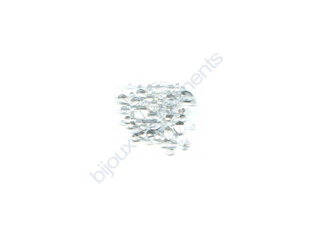 skleněné korálky - ramš, mix velikostí (mix krystalových korálků)