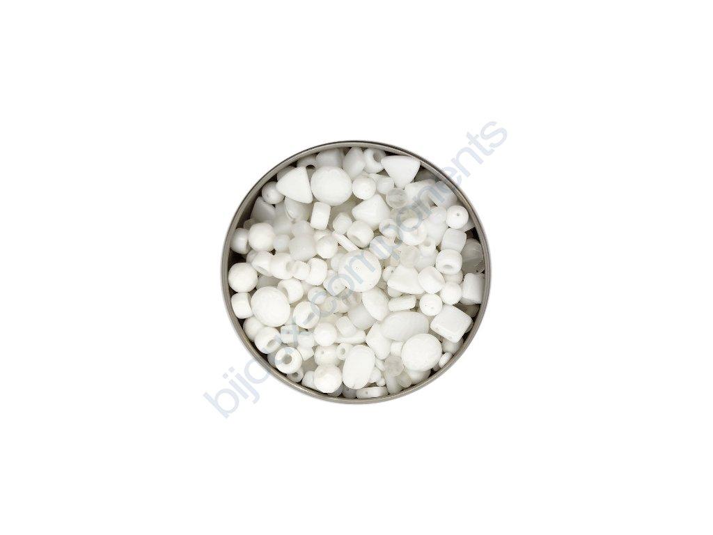 skleněné korálky - ramš, mix velikostí (mix bílých korálků)
