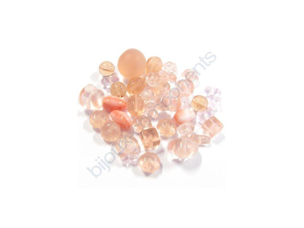 skleněné korálky - ramš, mix velikostí (mix řůžových korálků)