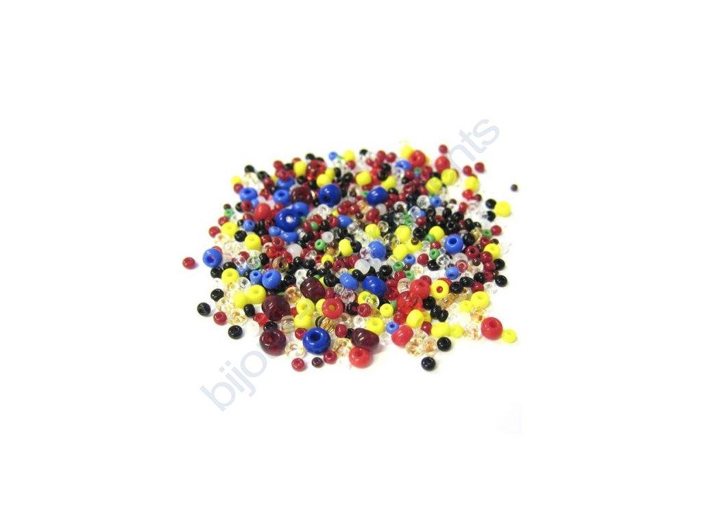 Směs skleněných rocailů - různé barvy a velikosti