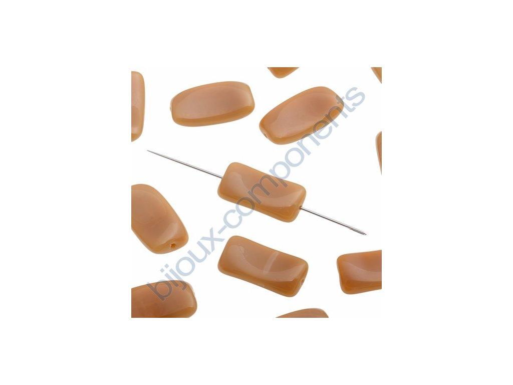 Skleněné mačkané korálky - karamelové, cca 17,6x9,2x3,5mm
