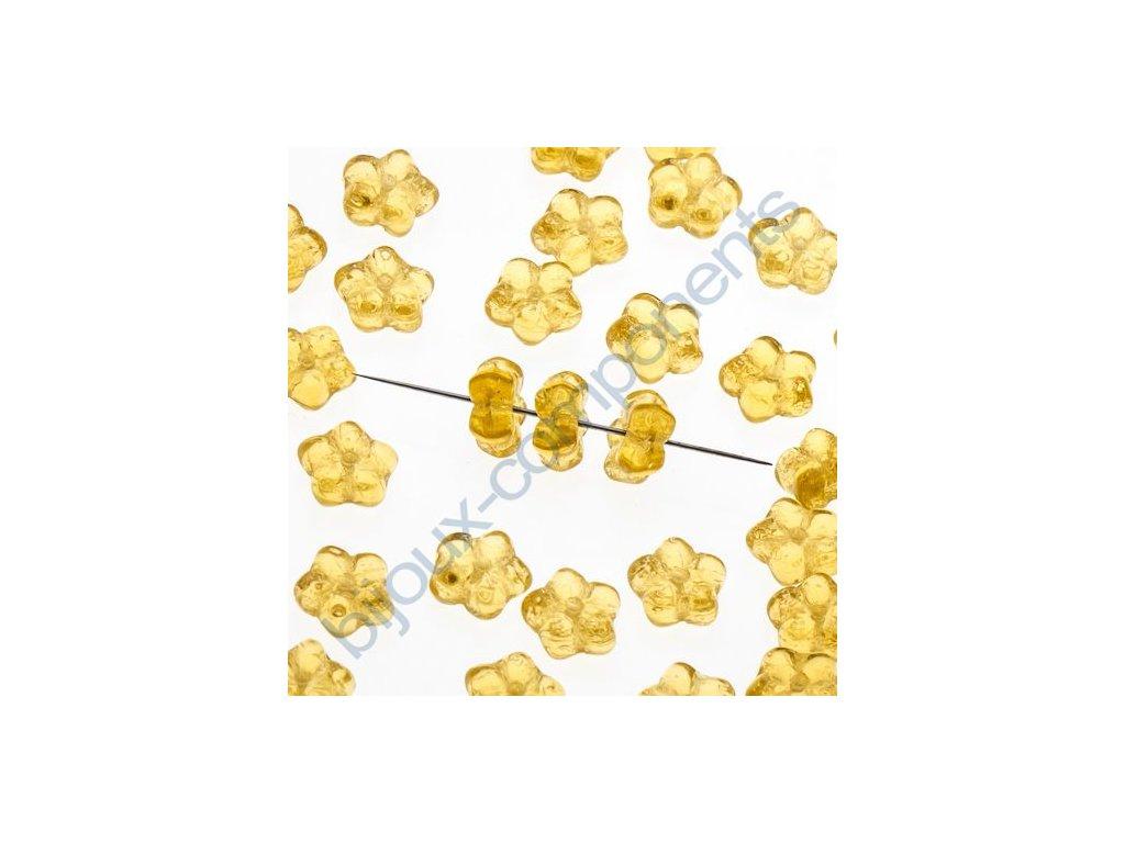 Skleněné mačkané korálky - sv.topaz, cca 7mm