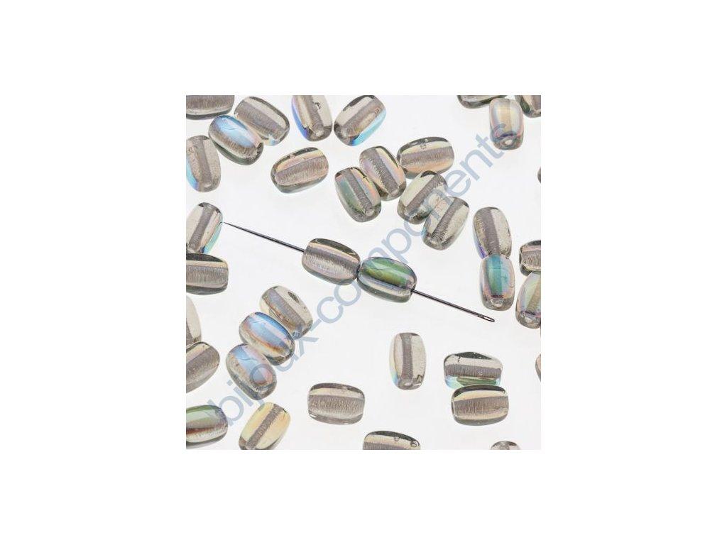 skleněné korálky s AB pokovem - ramš, cca 6x4mm