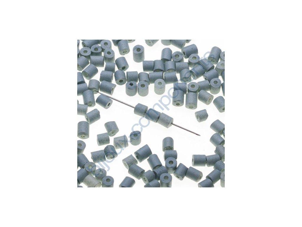 Skleněné sekané korálky - šedivé (barvené), cca 3x3,2mm