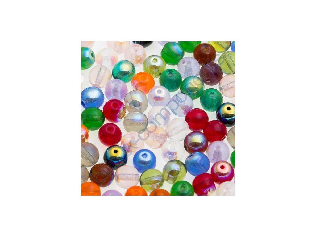skleněné korálky - ramš, mix kuliček s AB pokovem / 6mm