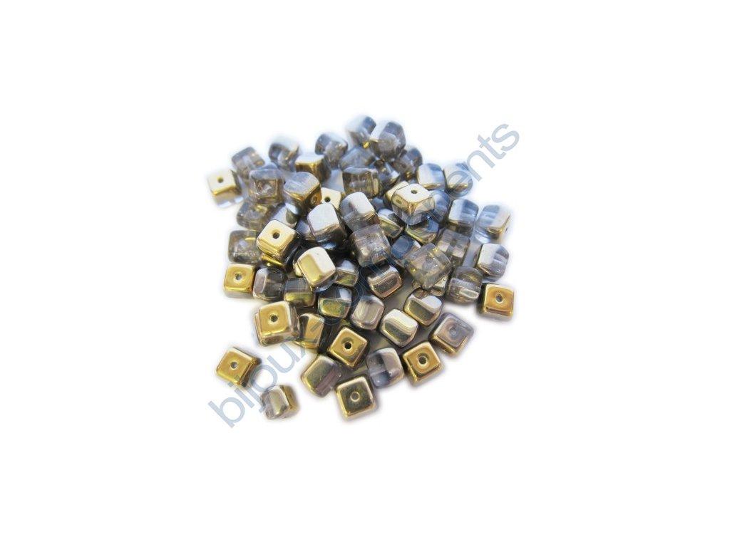 skleněné korálky - ramš, kostičky cca 6x5mm