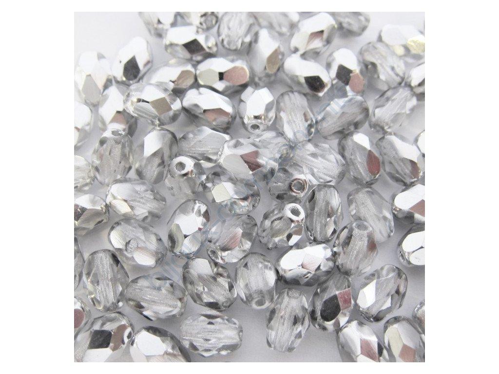 Skleněné mačkané korálky - krystal/stříbrný půlpokov