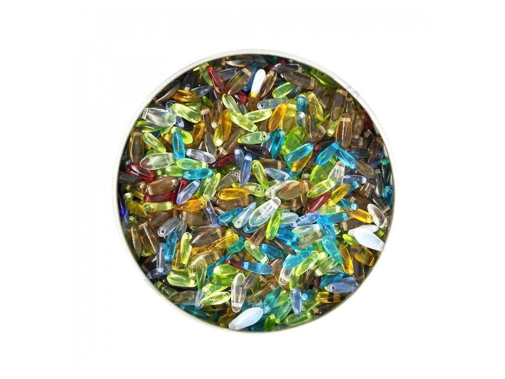 skleněné korálky - mix skleněných jazýčků - vel.10-14 mm