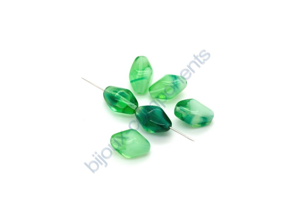 skleněné korálky - ramš, zeleno-opálové, cca 14x10mm