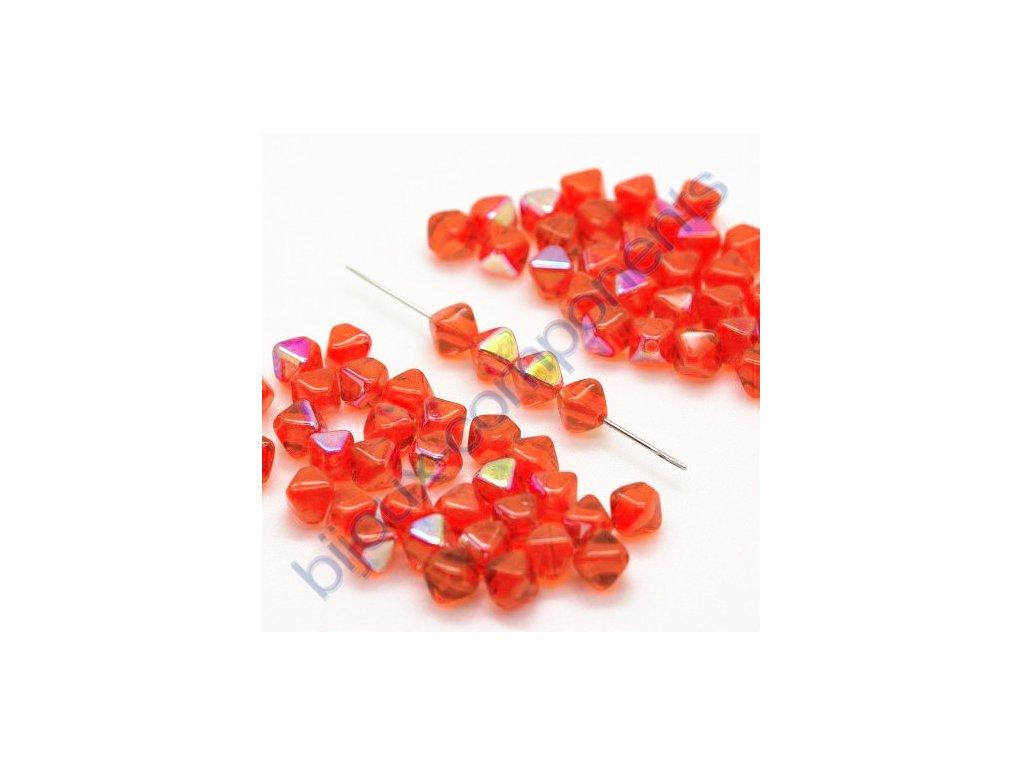 skleněné korálky - oranžové/pokov, cca 6x5mm