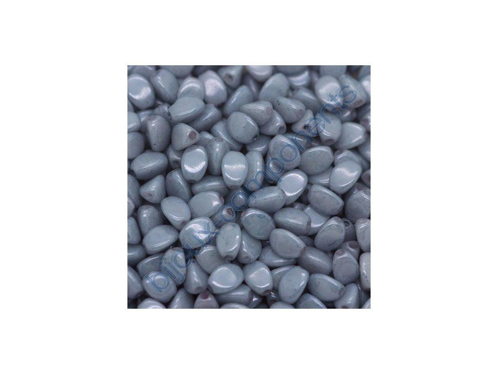 Skleněné korálky mačkané POHANKA, modrá listr