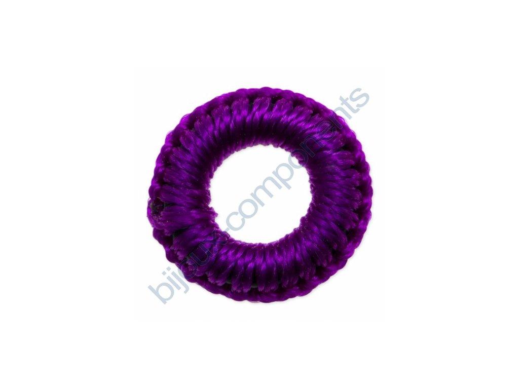 Obšívaný gumový kroužek - fialový