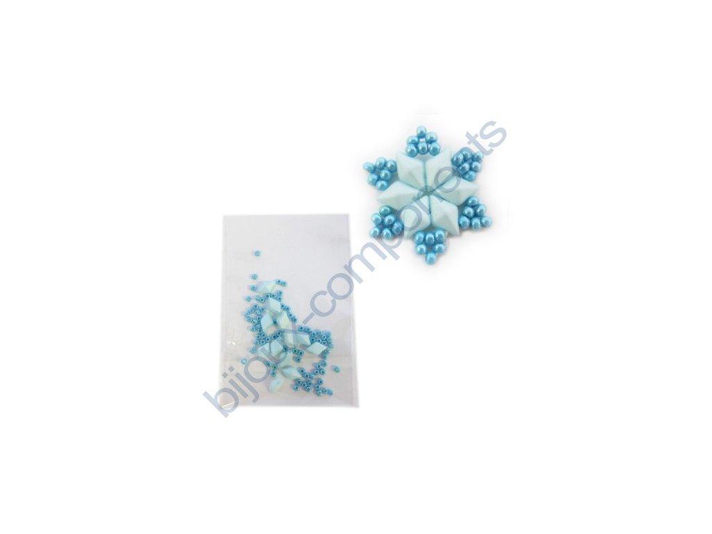 Set s korálky DiamonDuo - sněhová vločka, cca 20x20mm