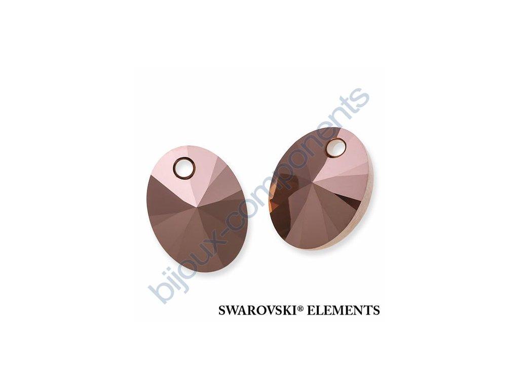 SWAROVSKI ELEMENTS přívěsek - XILION ovál, crystal rose gold 2x, 10mm