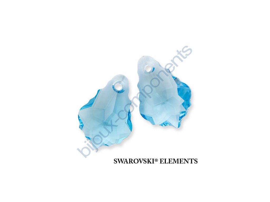 SWAROVSKI ELEMENTS přívěsek - barokní, aquamarine, 16x11mm