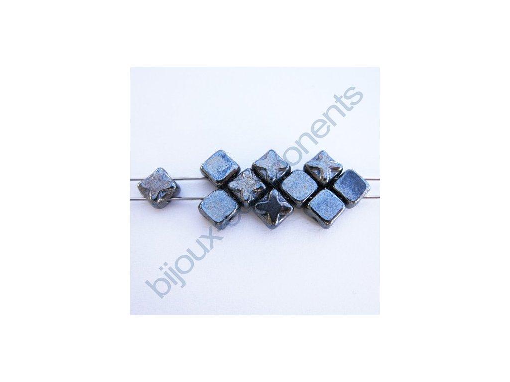 Dvoudírkové čtverečky Star, černé/hematit, 6x6mm