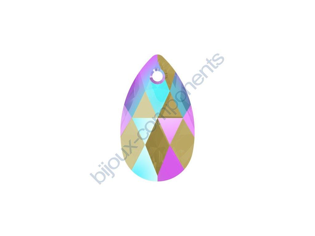 SWAROVSKI CRYSTALS přívěsek - hruška, black diamond shimmer effect, 16mm