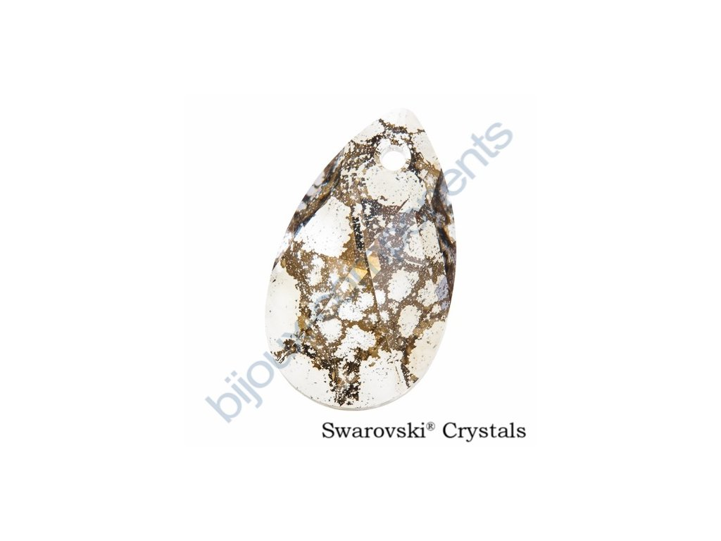 SWAROVSKI ELEMENTS přívěsek - hruška, crystal gold patina, 16mm