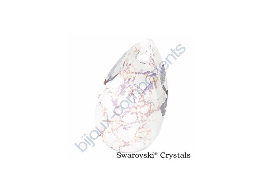 SWAROVSKI ELEMENTS přívěsek - hruška, crystal bílá patina, 16mm