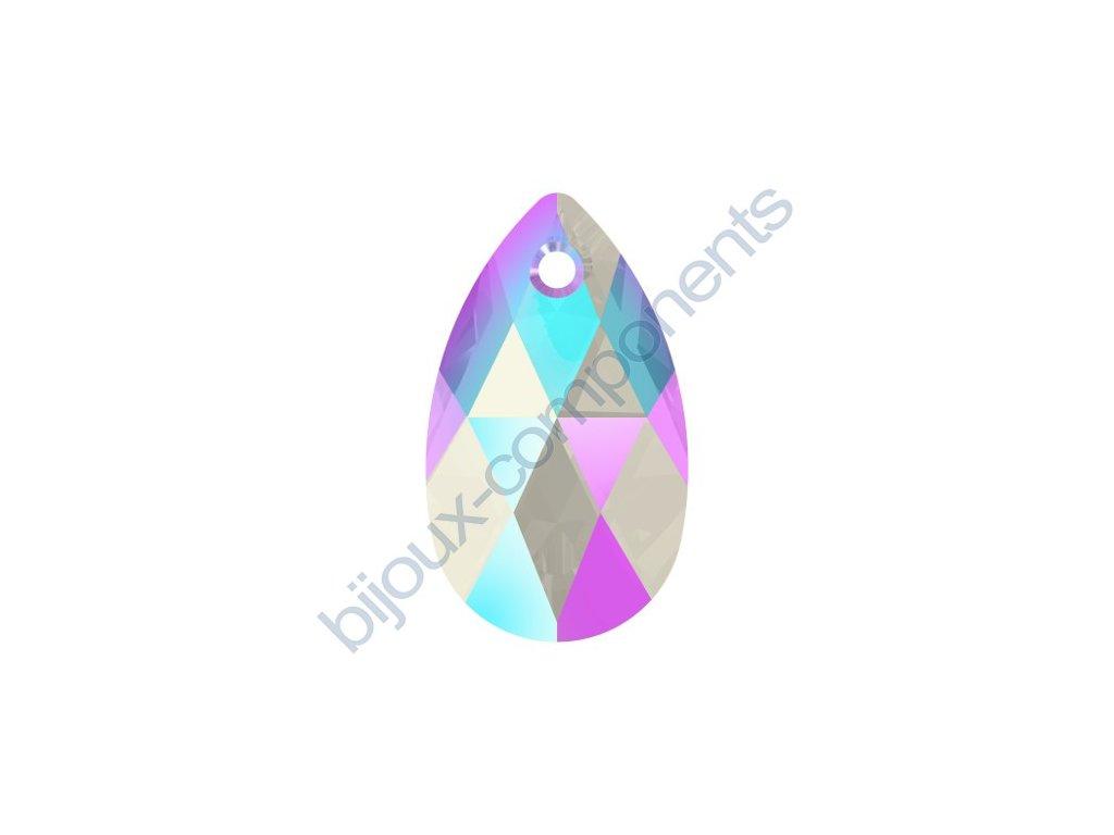 SWAROVSKI CRYSTALS přívěsek - hruška, light sapphire shimmer effect, 16mm