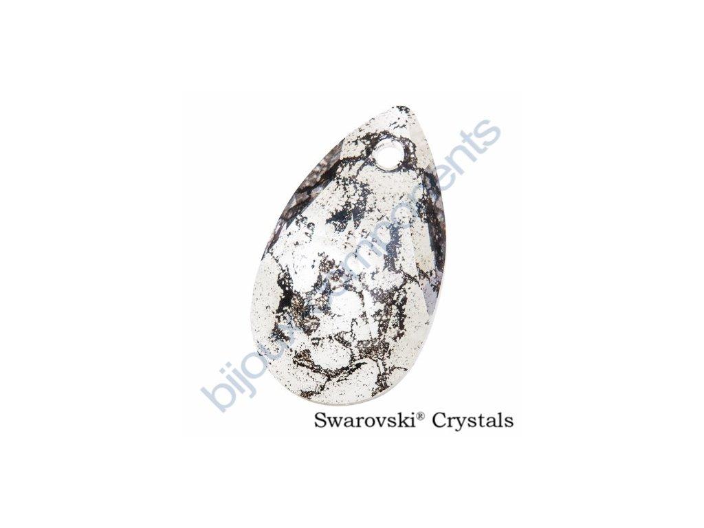 SWAROVSKI ELEMENTS přívěsek - hruška, crystal černá patina, 22mm