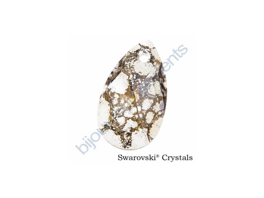 SWAROVSKI ELEMENTS přívěsek - hruška, crystal gold patina, 22mm
