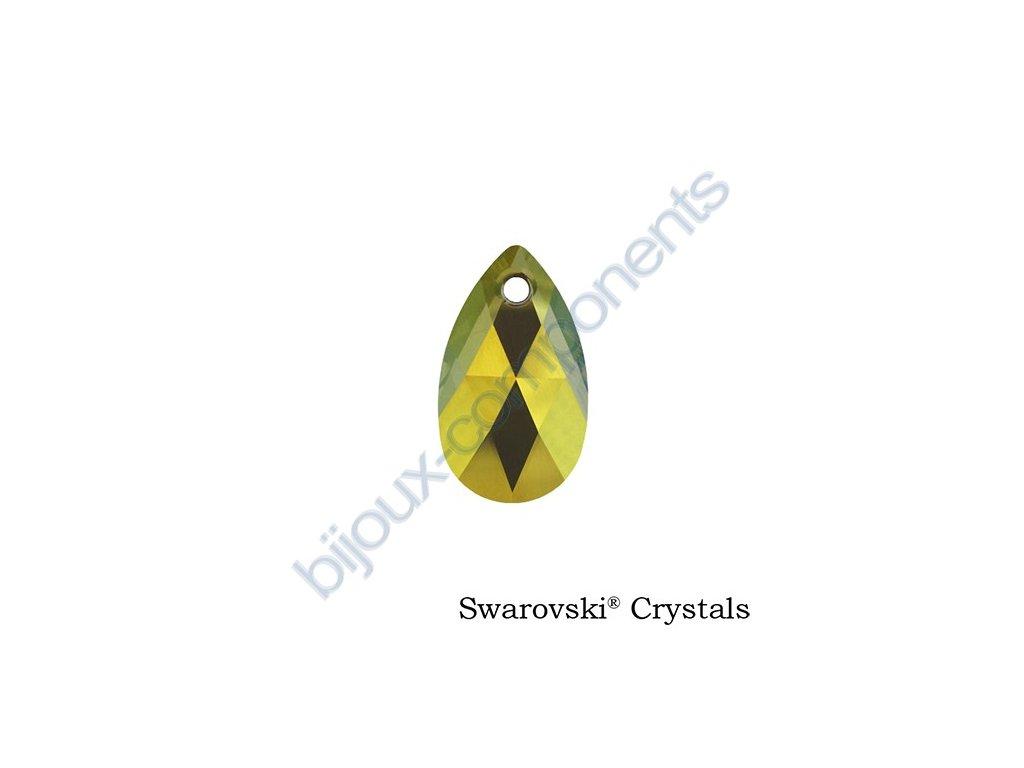 SWAROVSKI CRYSTALS přívěsek - hruška, crystal iridiscent green, 22mm