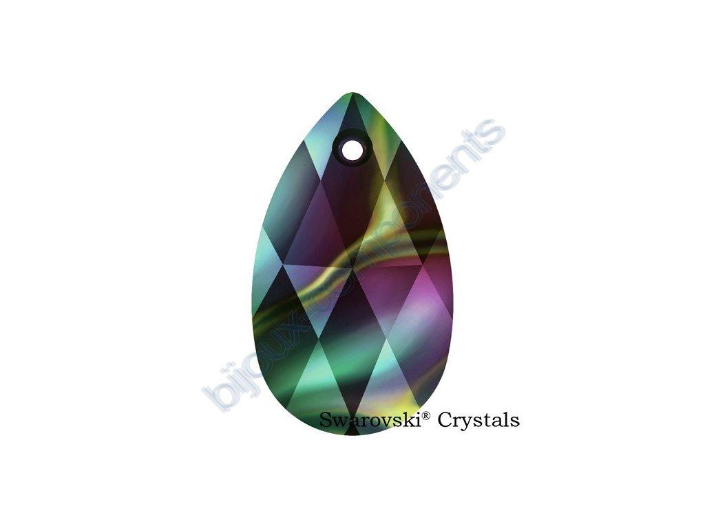 SWAROVSKI CRYSTALS přívěsek - hruška, crystal rainbow dark, 22mm